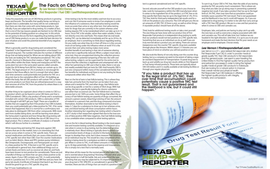 CBD and Drug Testing Article for the Texas Hemp Reporter
