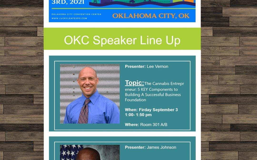 Lee Vernon speaking on Cannabis Entrepreneur 101 in Oklahoma City, OK 9/3/2021