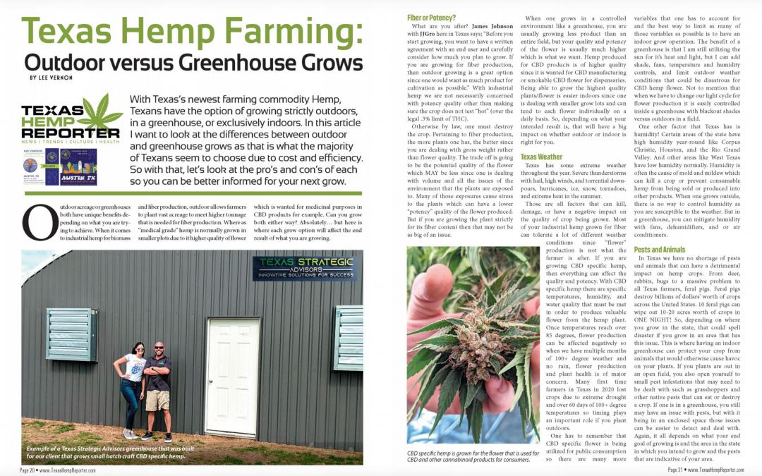 Outdoor versus Greenhouse Grows