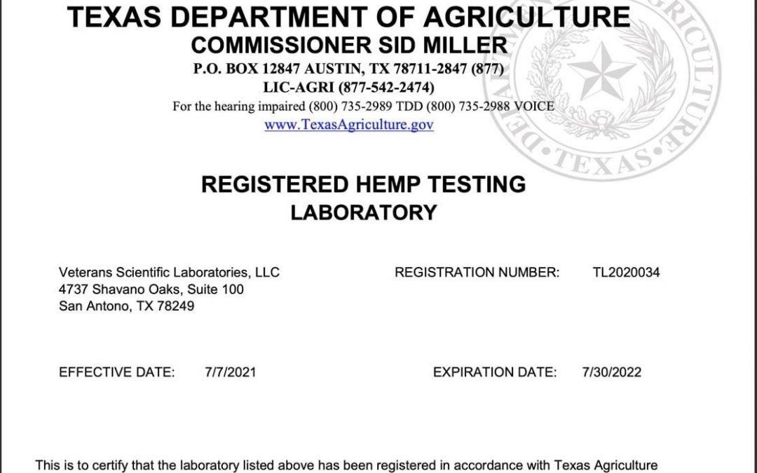 Veterans Scientific Laboratories is a Texas Registered Lab for hemp!